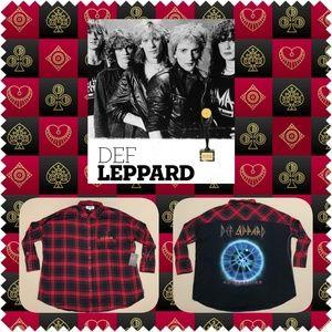 Def Leppard Drapey Plaid Button-Up Shirt